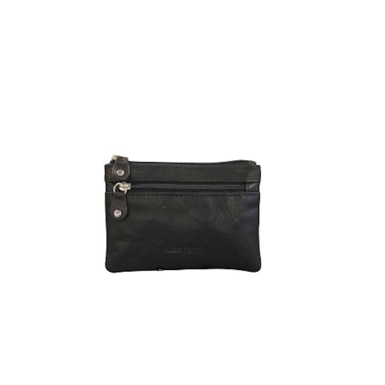Nyckelfodral med plats för kort och sedlar i svart läder