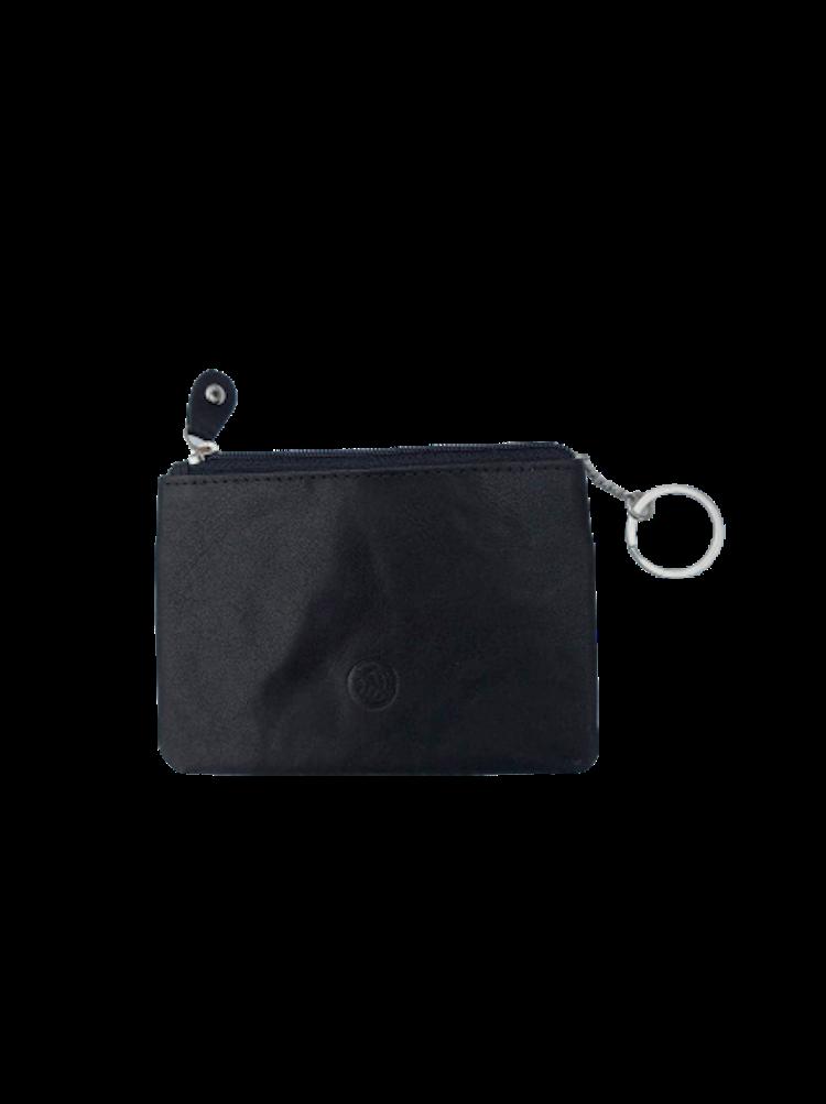 Nyckelfodral med 1 kedja och nyckelring i svart läder
