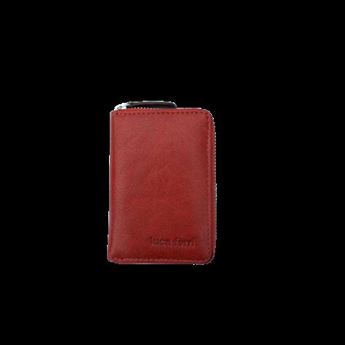 Korthållare med 6 fack och dragkedja, läder, färg röd