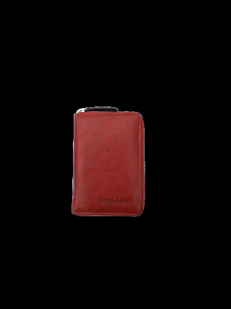 Plånbok för kort med 6 fack och dragkedja i läder, färg röd