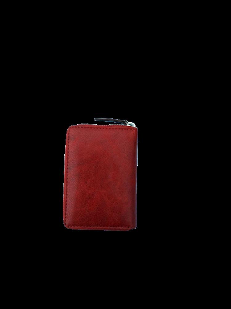 Kort-plånbok med 6 fack och dragkedja i läder, färg röd