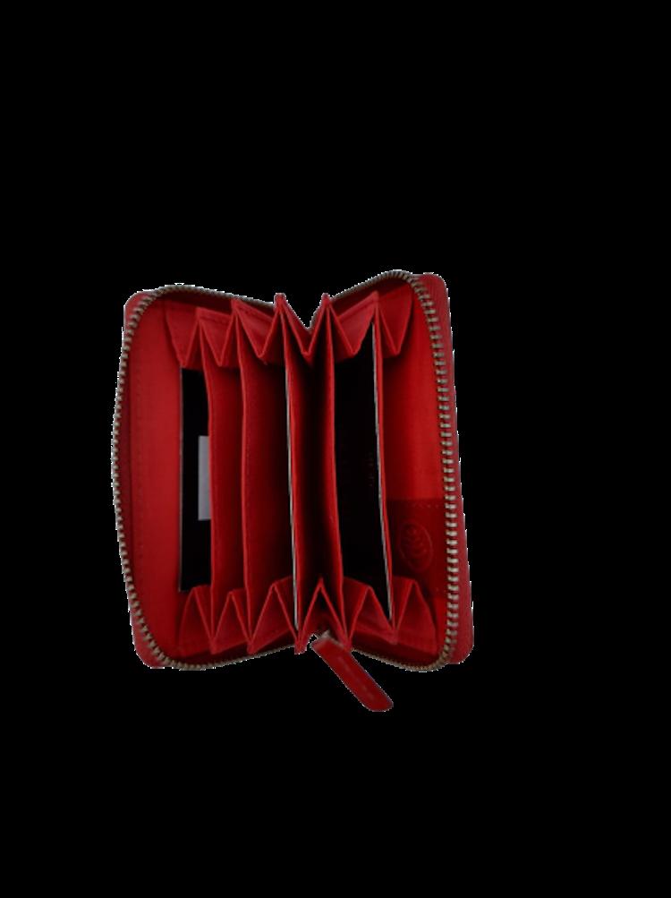 Korthållare med plats för många kort, stängs med dragkedja, färg röd