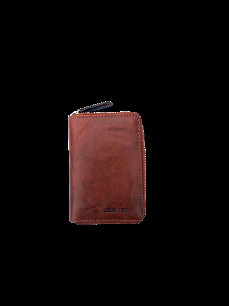 Plånbok för kort med 6 fack och dragkedja i läder, färg brun