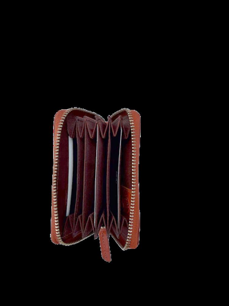 Kort-plånbok med 6 fack och dragkedja i läder, färg brandy