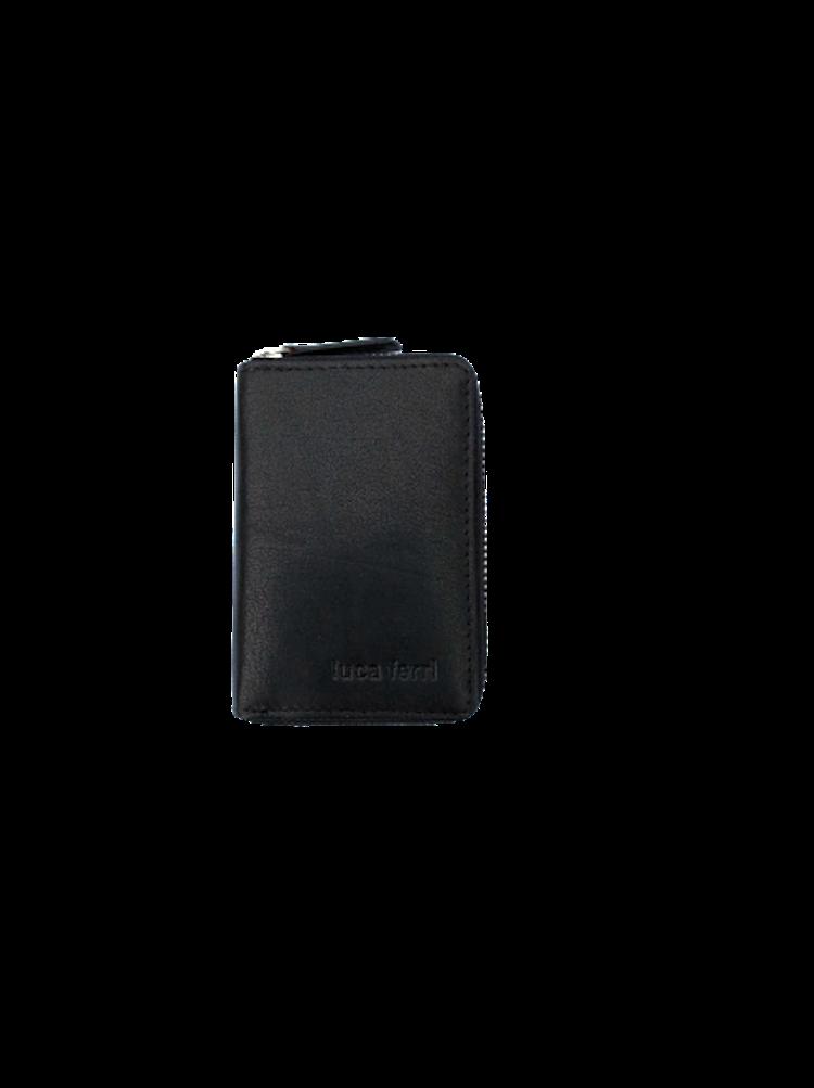 Plånbok för kort med 6 fack och dragkedja i läder, färg svart