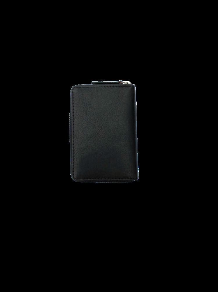 Korthållare med plats för många kort, stängs med dragkedja, färg svart