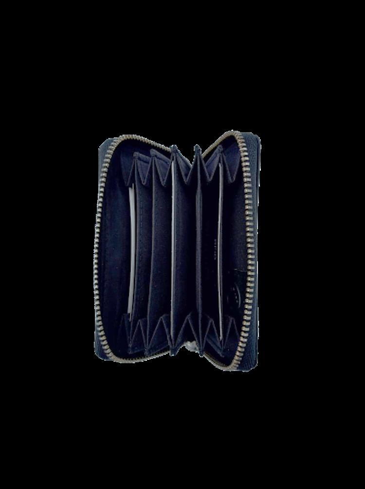 Kort-plånbok med 6 fack och dragkedja i läder, färg svart