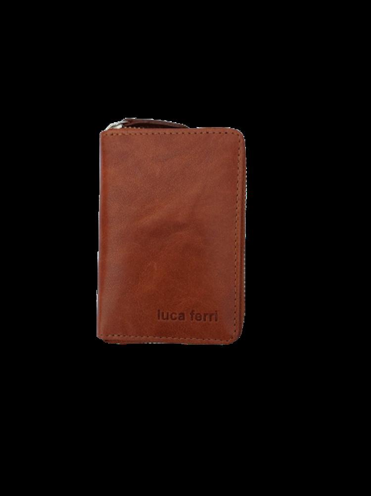 Plånbok för kort med 6 fack och dragkedja i läder, färg cognac