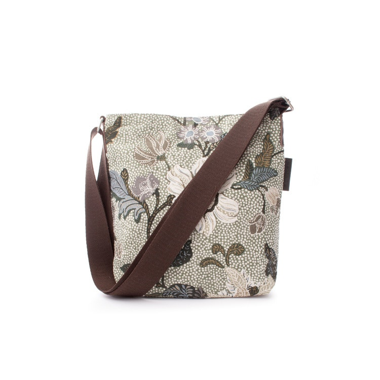 SMALL SHOULDER BAG SOFT GREEN FLOWER LINEN