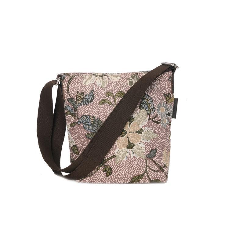 DUSTY PINK FLOWER LINEN SMALL SHOULDER BAG