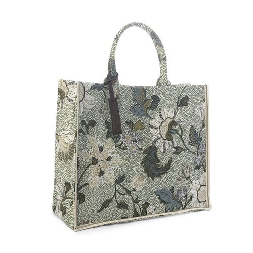Shoppingkasse Flower Linen, Soft Green, Ceannis