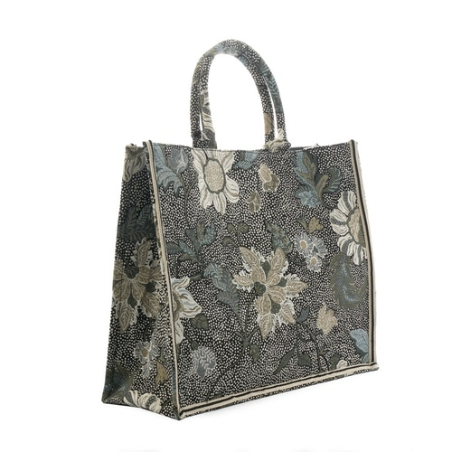 Shoppingkasse Flower Linen, Black, Ceannis