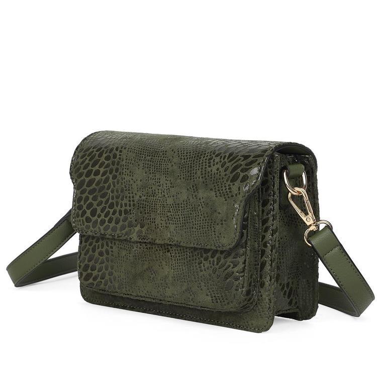 Axelremsväska i grönt, mocka liknande väska med print