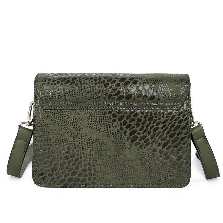 Väska dam liten grön mocka liknande