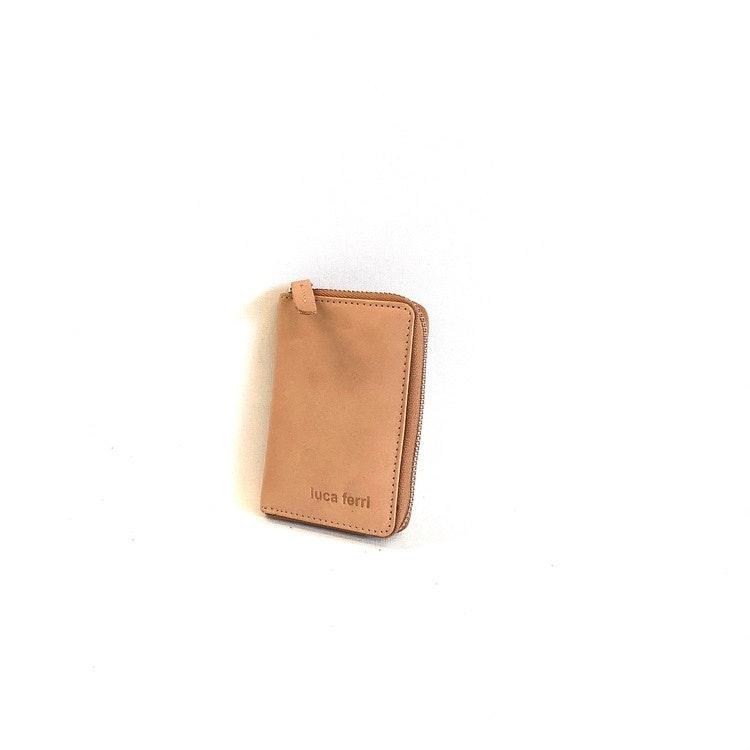 Kort plånbok i äkta läder med 2 fack, dragspelsmodell