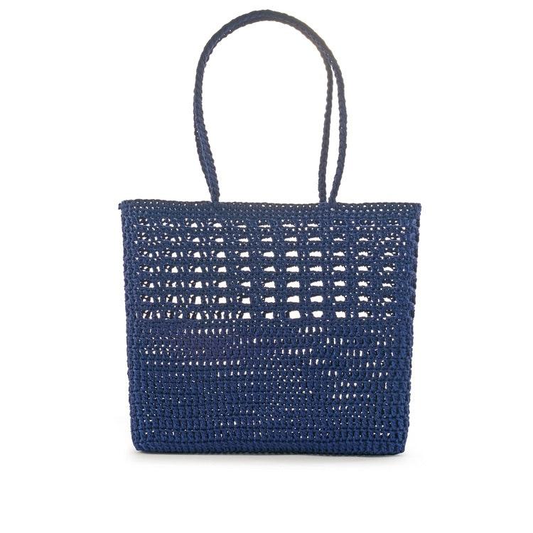 Virkad korgväska Crochet Basket, Mörkblå, Ceannis