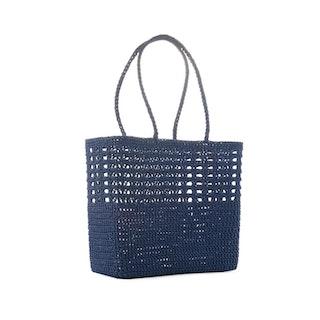 Virkad korg väska Crochet Basket, Mörkblå, Ceannis