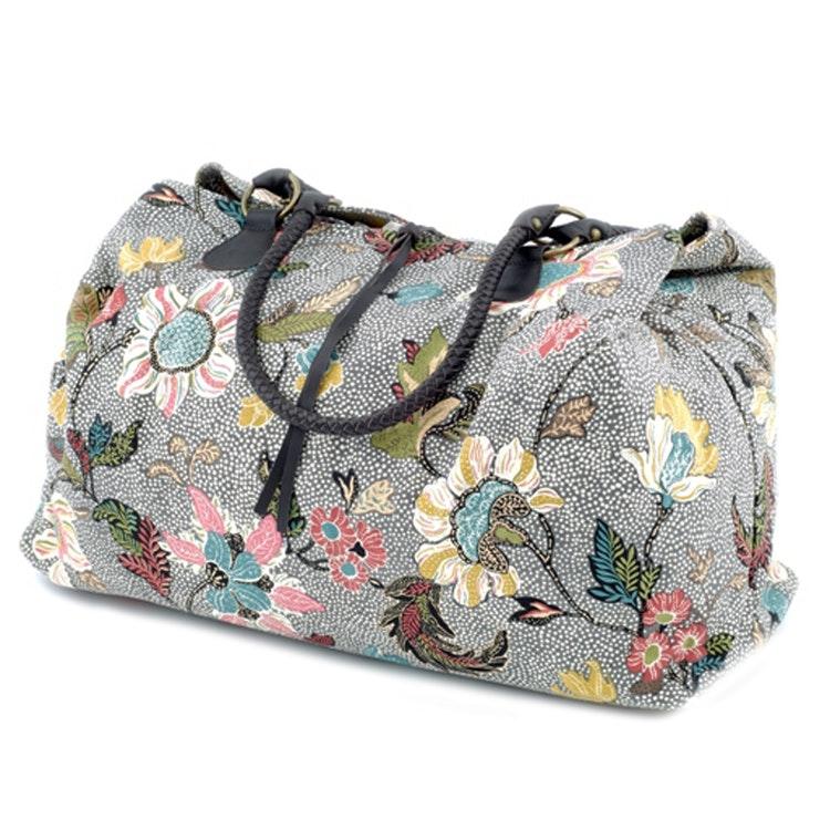 CEANNIS GREY WEEKEND BAG FLOWER LINEN