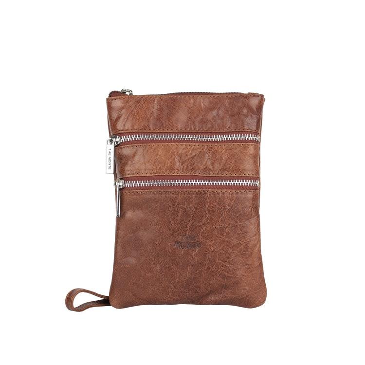 Axelväska mobilväska skinn brun The Monte 6057135