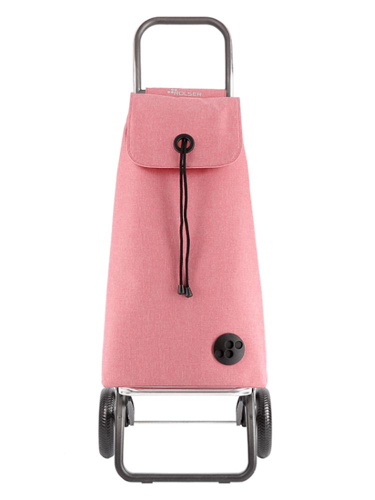 Dramatenväska hopfällbar 2 hjul med väska i tyget melerad Rosa
