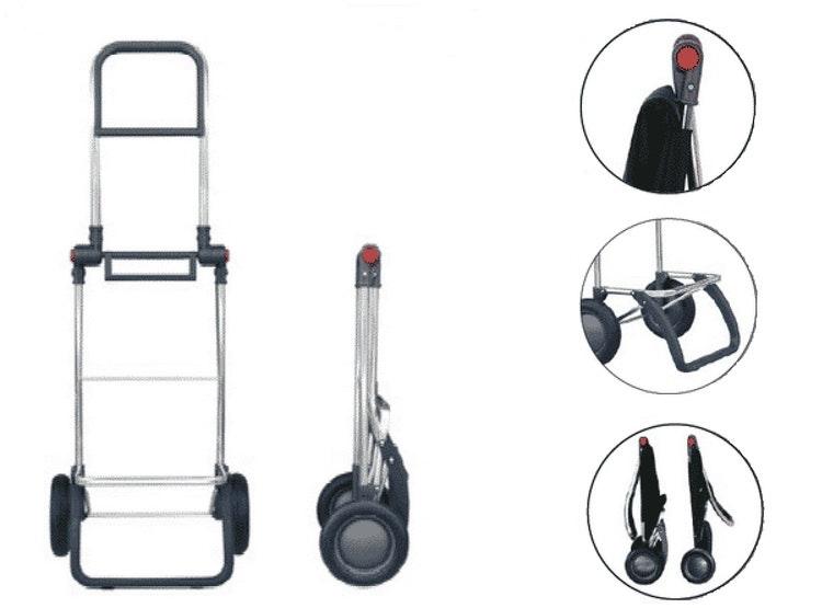 Dramatenväska hopfällbar på 2 hjul med väska i tyget Tailor, grårandig