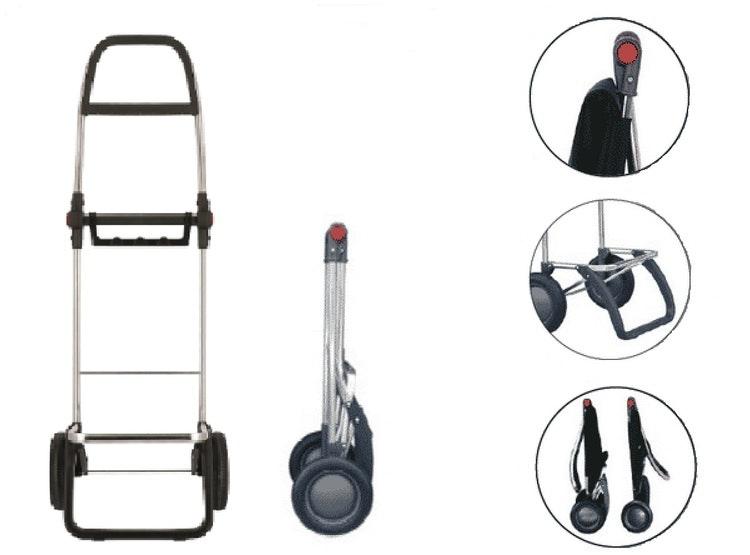 Dramatenväska hopfällbar på 2 hjul med väska i Wallaby grå