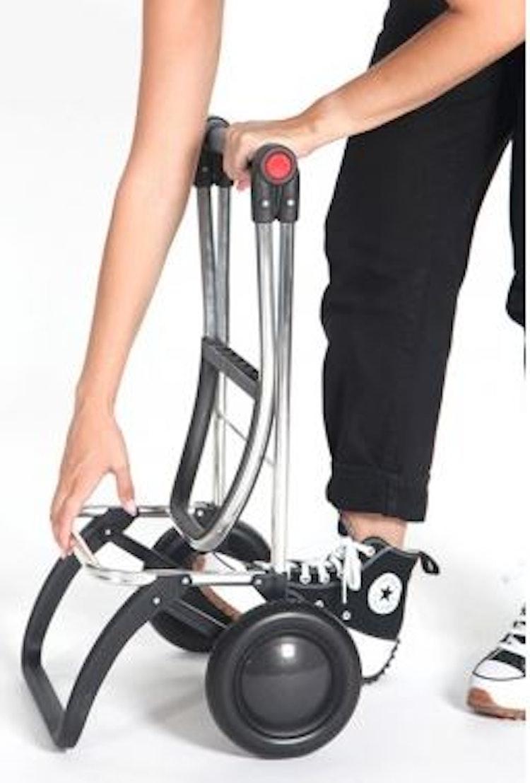 Dramatenväska på 2 hjul hopfällbar med väska med blixtlås grå