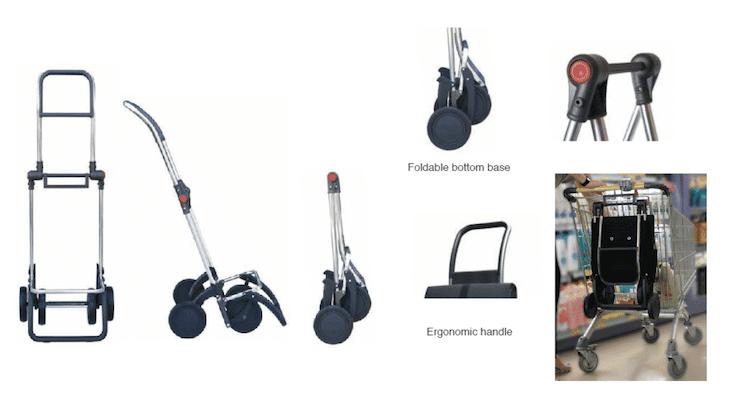 Shoppingvagn rolser 4 hjul hopfällbar svart brons