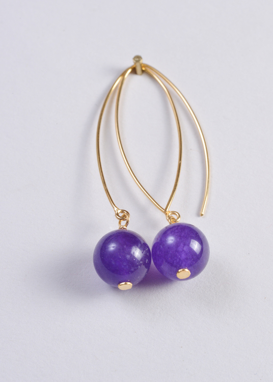 Mossa Hanging Earring Amythest Round