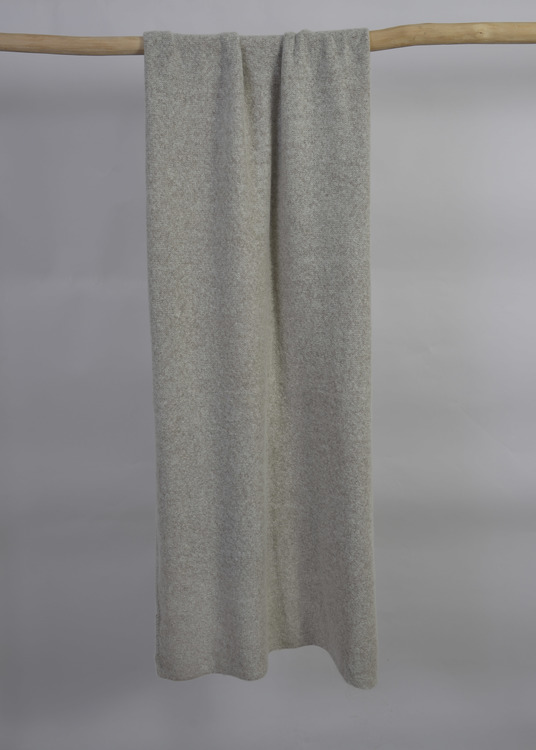 Knitted handcrafted Cashmere wrap Light Gray