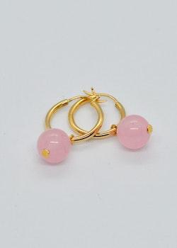 Mossa Hanging Earring Hoop Rose Quartz