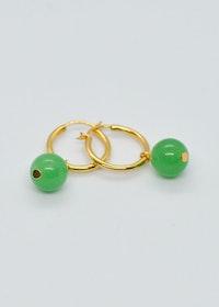 Mossa Hanging Earring Hoop Green Onyx