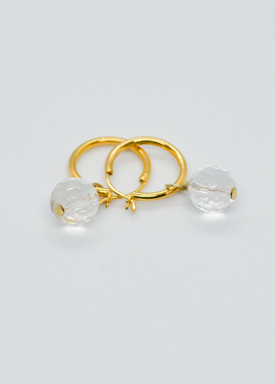 Mossa Earring Round hoop Natural Crystal