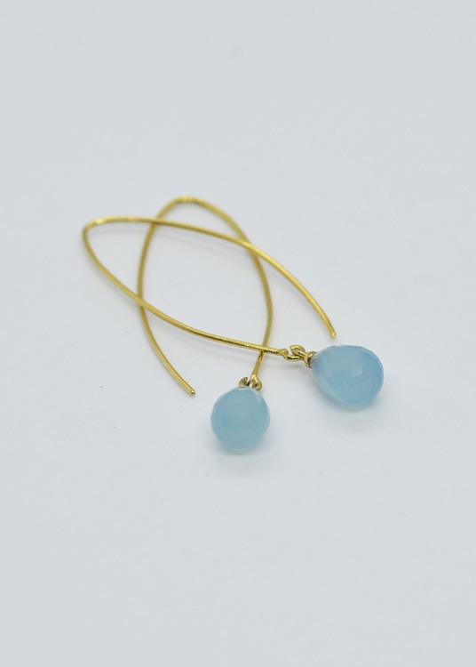 Mossa Hanging Earring Blue Chalcedony
