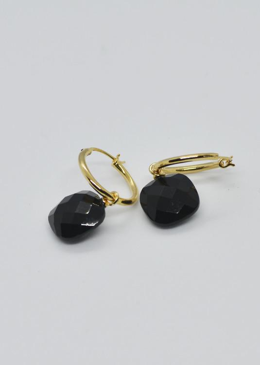 Mossa Hoop Earring Black Onyx Square