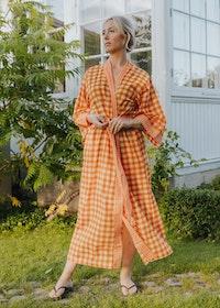 Kimono Orange Check