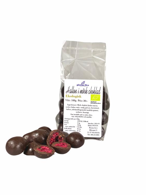 Hallon i mörk choklad Ekologiska 100g