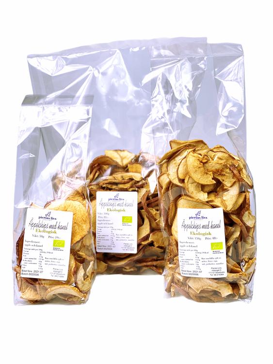 Äppelchips med kanel Ekologiska