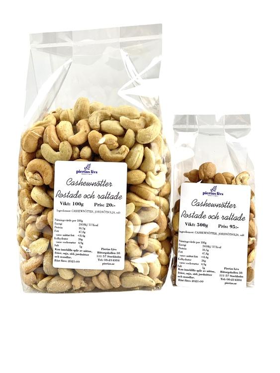 Cashewnötter rostade och saltade