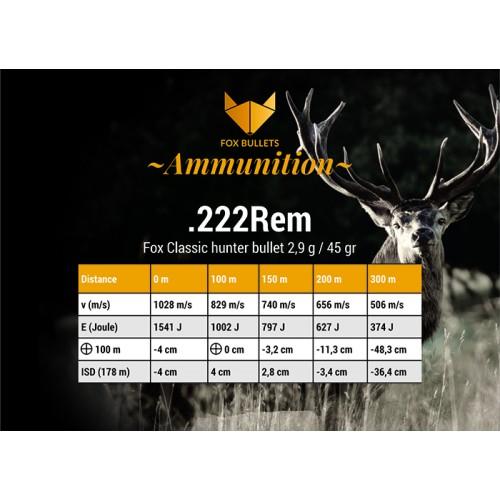 Fox Classic Hunter .222Rem - 45gr