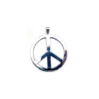 Peace, platt hänge i silver
