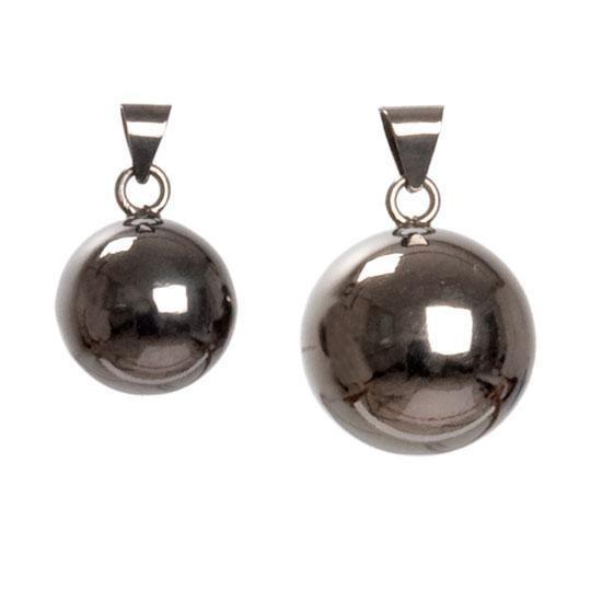 Pinglande gravidsmycke - svart slät silverkula