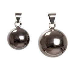Hänge - Pinglande gravidsmycke, svart slät silverkula