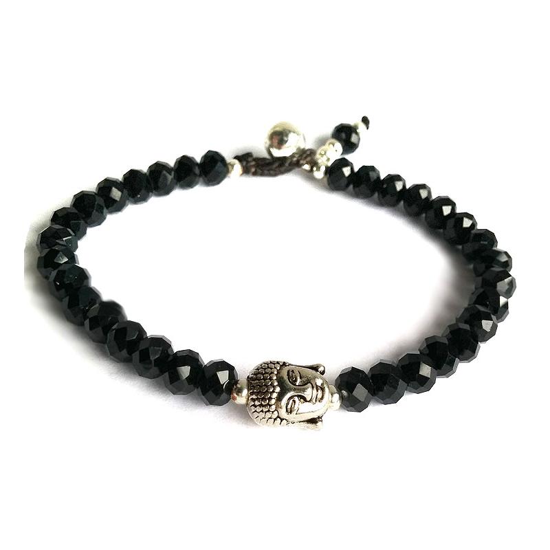 Armband - Buddha, svart kristall