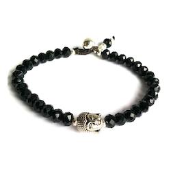 Armband buddha svart kristall