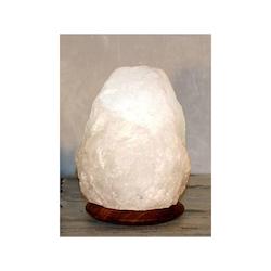 Vit Saltkristallampa med träfot 2-3kg
