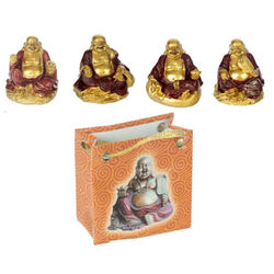 Röd & guldfärgad Kinesisk Buddha i påse