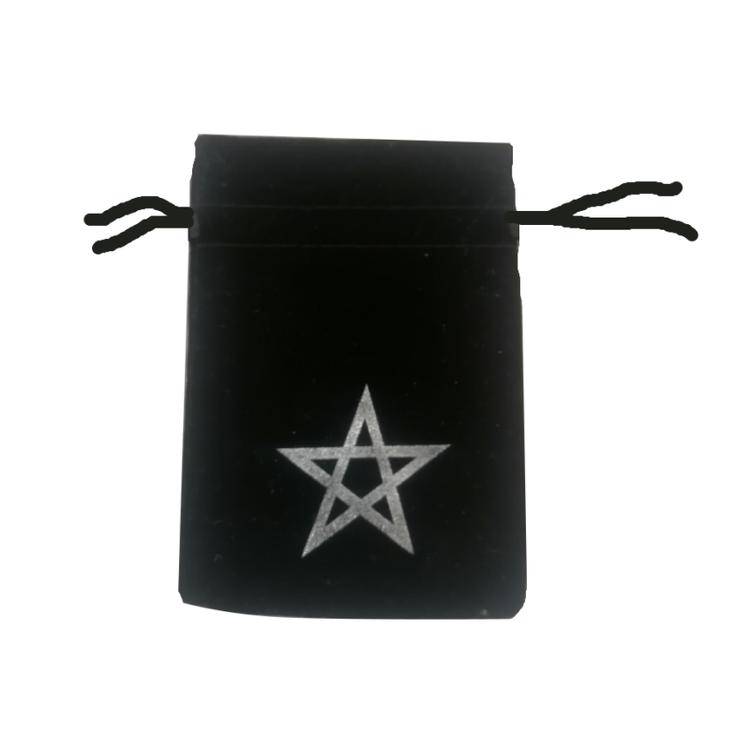 Svart påse med pentagram 10x12 cm