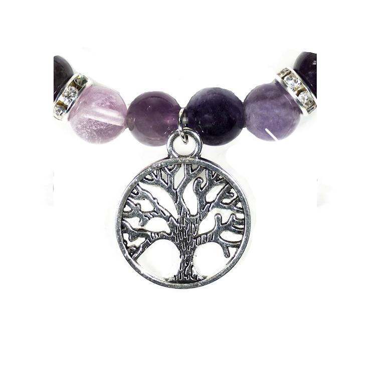Armband - Fluorit och Ametist med Livets Träd