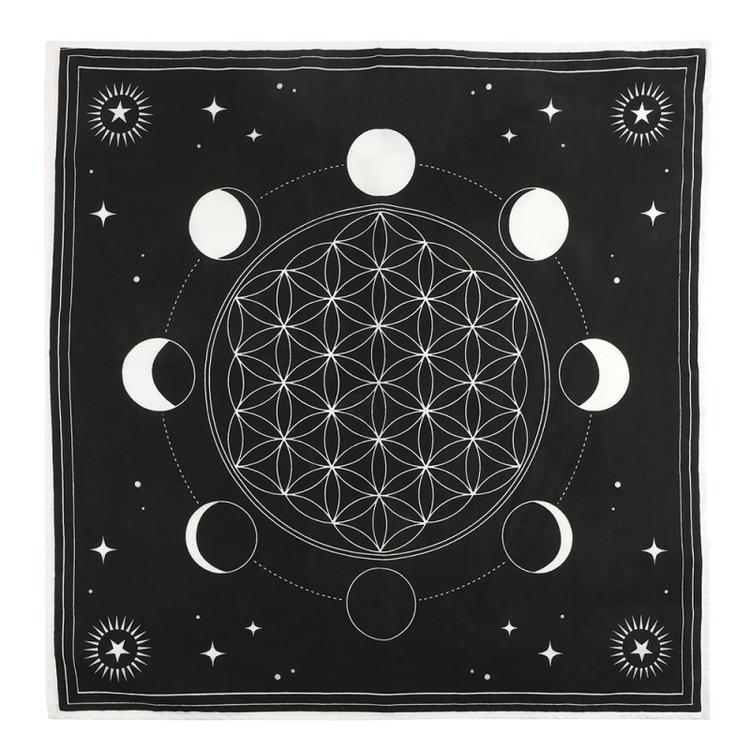 Altarduk med månfaser, kristallnät och livets blomma